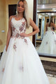 A-Line Sweetheart Sweep Train White Tulle Prom Dress with Appliques Beading C18