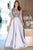 A-Line Crew Sweep Train Silver Satin Sleeveless Prom Dress with Appliques Q56