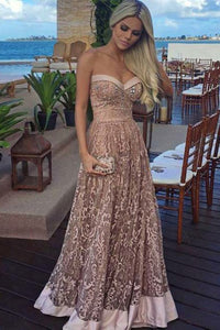 A-Line Sweetheart Floor-Length Champagne Lace Prom Dress with Beading OHC093 | Cathyprom
