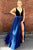 A-Line Deep V-Neck Sweep Train Split Royal Blue Lace Beaded Prom Dress Q53