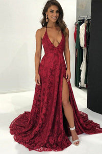 A-Line Deep V-Neck Sweep Train Dark Red Split Sleeveless Lace Backless Prom Dress C16