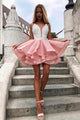 Sleeveless Short Homecoming Dresses Online Deep V Neck Appliques OHM088 | Cathyprom