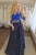 Two Piece Round Neck 3/4 Sleeves Dark Blue Prom Dress with Appliques CAD62 | Cathyprom
