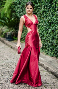 Memraid Deep V-Neck Floor-Length Red Satin Cut Out Prom Dress with Beading Q27