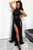 A-Line High Neck Floor-Length Black Prom Dress with Lace Split LPD85 | Cathyprom
