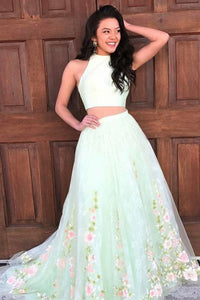 Two Piece Jewel Sweep Train Mint Lace Sleeveless Open Back Prom Dress with Appliques D20