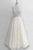 Two Piece Jewel Floor-Length Ivory Lace Prom Dress with Beading Q52