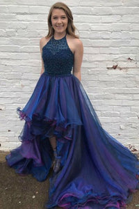 A-Line Halter Court Train High Low Royal Blue Tulle Beaded Ruffles Prom Dress Q58|Cathyprom