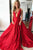 A-Line Deep V-Neck Court Train Red Satin Criss-Cross Straps Sleeveless Prom Dress C19
