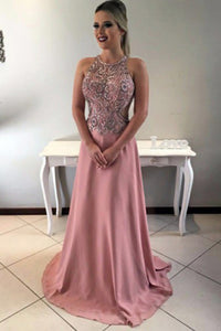 A-Line Jewel Sweep Train Criss-Cross Straps Blush Satin Prom Dress with Beading Q95