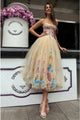 A-Line Sweetheart Tea-Length Beige Tulle Prom Dress with Appliques Pleats D6