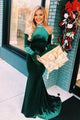 Mermaid High Neck Cold Shoulder Long Dark Green Velvet Prom Dress with Beading Feathers OHC031 | Cathyprom