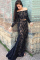 Two Piece Off-the-Shoulder Long Sleeves Black Lace Prom Dress OHC057 | Cathyprom