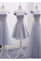Elegant A Line Off-the-shoulder Lace-up Sleeveless Appliques Long Tulle Bridesmaid Dresses OHS114 | Cathyprom