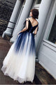 Blue Ombre Long Tulle Prom Dress Unique V Neck Sleeveless Party Dresses Dance Dress PD15