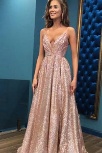 Simple Open Back Sleeveless Spaghetti Straps Sequins Prom Dress OHC149 | Cathyprom