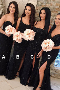 Mermaid Sweetheart Sweep Train Lace Bridesmaid Dress with Split Flowers OHS086 | Cathyprom