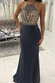 Mermaid Round Neck Floor-Length Grey Prom Dress with Beading D11
