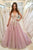 A-Line V-Neck Sweep Train Pink Tulle Prom Dress with Appliques OHC044 | Cathyprom