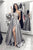 A-Line One-Shoulder Long Sleeve Sweep Train Grey Appliqued Prom Dress with Pockets Split LPD24