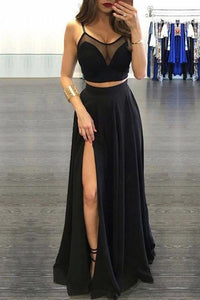 Sexy Two Piece Spaghetti Straps Floor Length Sleeveless Black Long Chiffon Prom Dress OHC196 | Cathyprom