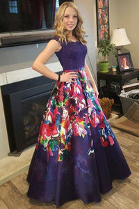 A-Line Round Floor-Length Dark Blue Floral Prom Dress with Beading OHC063 | Cathyprom