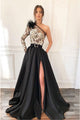 A-Line One-Shoulder Black Appliqued Split Long Prom Dress with Pockets Feathers LPD23