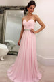 Cheap Princess/A-Line Sweetheart Sleeveless Beading Pink Long Chiffon Prom Dresses OHC266 | Cathyprom