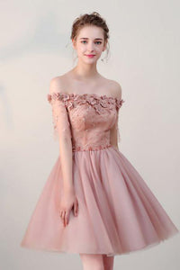 Chic Homecoming Dress Off-the-shoulder Beading Short Sleeves Tulle Short Prom Dress Party Dress OHM109 | Cathyprom