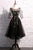 Elegant Lace Homecoming Dress Scoop A-line Embroidery Short Black Prom Dress Party Dress OHM177