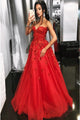 A-Line Sweetheart Sweep Train Red Prom Dress with Appliques Beading D7