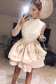 A-Line High Neck Long Sleeves Homecoming Dresses with Appliques OHM020 | Cathyprom