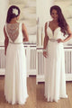 Charming V-Neck Sleeveless Illusion Back Floor Length White Prom Dress with Beading Belt LPD46 | Cathyprom