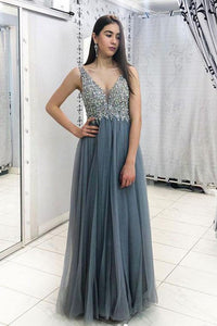A Line Sleeveless Tulle Beading Long Prom/Evening  Dresses OHC158 | Cathyprom