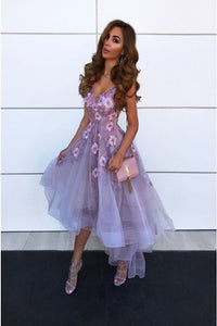 A-Line Spaghetti Straps High Low Lilac Prom Party Dress with Flowers PD5