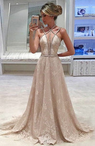 A-Line Cross Neck Sweep Train Criss-Cross Straps Champagne Lace Beaded Prom Dress Q33