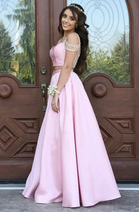 Two Piece V-Neck Cold Shoulder Pink Satin Sleeveless Prom Dress with Beading Q19