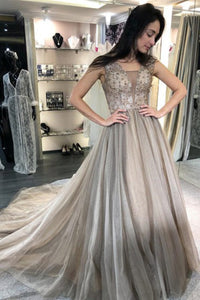 A-Line V-Neck Sweep Train Light Grey Prom Dress with Beading D9