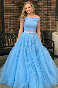Two Piece Off-the-Shoulder Sweep Train Open Back Blue Tulle Prom Dress with Beading L2