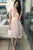 A-Line Crew Short Sleeves Pink Tulle Homecoming Dress with Embroidery OHM081 | Cathyprom