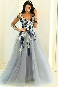 A-Line V-Neck Long Sleeves Grey Tulle Prom Dress with Appliques OHC097 | Cathyprom