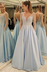 A-Line Deep V-Neck Floor-Length Long Sleeves Light Blue Satin Backless Beaded Prom Dress Q21