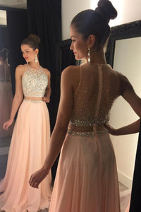 A-Line Jewel Sweep Train Pearl Pink Chiffon Sleeveless Prom Dress with Beading L30