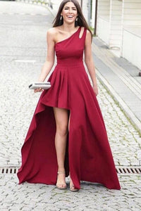 Simple Deep Red Satin One Shoulder Sleeveless High Low Prom Dress Party Dress OHC381 | Cathyprom