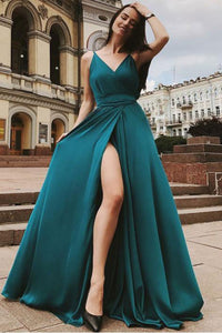 Cheap Prom Dresses A Line Spaghetti Straps Deep V Neck Sleeveless Slit Long Chiffon Prom Dress OHC312 | Cathyprom