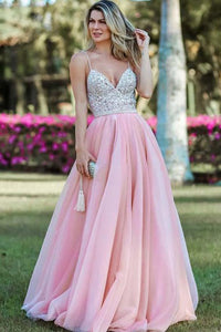 A-Line Spaghetti Straps Backless Pink Organza Long Prom Dress with Beading Sequins D23