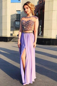 Two Piece Jewel Cap Sleeves Lavender Chiffon Prom Dress with Beading OHC077 | Cathyprom