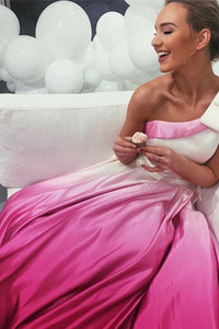 A-Line One-Shoulder Sweep Train Satin Prom Dress with Pockets Bowknot OHC167 | Cathyprom