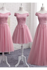 Sexy A Line Off-the-shoulder Sleeveless Tulle Long Bridesmaid Dresses with Appliques OHS120 | Cathyprom