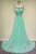 Elegant Scoop Court Train Beading Chiffon Green Long Evening/Prom Dress LPD73 | Cathyprom